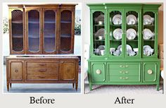 Furniture Makeovers: The Power of Paint - Vibrant green paint gave this sad china cabinet a glamorous and sophisticated new look. More photos and details here.