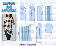KiVita MoYo : BLUSON CON ALFORZAS Baby Girl Frocks, Frocks For Girls, Bodice Pattern, Top Pattern, Easy Sewing Patterns, Sewing Tutorials, Blouse Patterns, Clothing Patterns, T Shirt Tutorial
