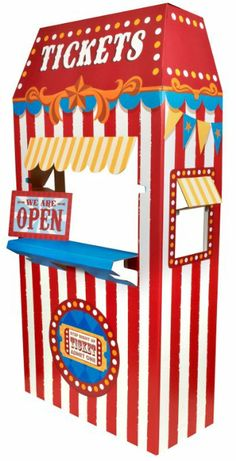 "PHOTOS and/or DECORATIONS: Ticket Booth Cardboard Stand FOR A KID (36"")  This thing is only $40!! I would think it would be a lot more than that!"