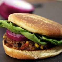 Chili sauce adds a kick to these Spicy Black Bean Burgers