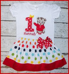 New Super Cute Daniel the Tiger Birthday Skirt outfit Name and age included Rainbow polka dot by LittlehootboutiqueCo on Etsy https://www.etsy.com/listing/492128075/new-super-cute-daniel-the-tiger-birthday