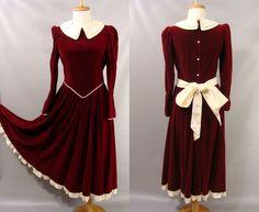Mrs Claus Dress. Red Velvet Holiday Dress. vtg 80s Laura Ashley Dress. Creme Collar Bow Hem. Full Skirt. Winter Princess Costume. size S 4 6 by wardrobetheglobe on Etsy