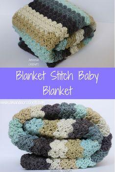 Blanket Stitch Baby Blanket #crochet #crochetpattern #blanketpattern #babyblanket #blanketstitch #crochet #blankets #babyboynursery #babyshower #babyshowerideas #babyboy #caronbigcake #afternoontea