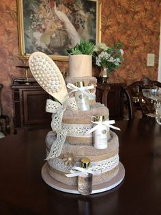 Rustic Lace Towel Cake