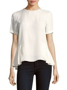 OSCAR DE LA RENTA Solid Hi-Lo Silk Top. #oscardelarenta #cloth #top