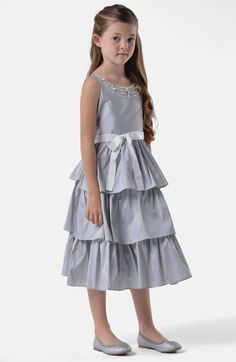 Us Angels Tiered Taffeta Dress (Little Girls & Big Girls) available at #Nordstrom