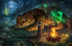 Wallpaper art, monster, fire, flame, people, masks, mage, staff, magic, night