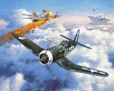 "Kawasaki Ki-61 Hien ""Tony"" probably of the 2nd Chutai / 56th Sentai shot down by Vought F4U Corsair from CV-17 Bunker Hill Air Group"