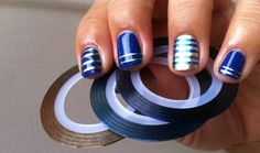 Gold&Blue striping tape manucure