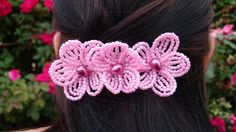 FREE SHIPPING  Pink French Beaded Flower by FloralUniqueDesign