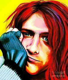 Kurt Cobain - Grungy Version by Shawna Rowe Kurt Cobain Painting, Kurt Cobain Art, Fine Art Prints, Framed Prints, Canvas Prints, Painting For Kids, My Favorite Music, Music Is Life, Rock Art