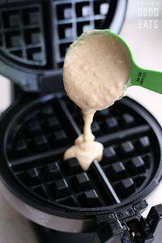 Use this Fluffy Waffle Recipe to make thick, fluffy waffles without the hassle of beating egg whites! Make a double-batch and freeze for homemade waffles in minutes. Waffle Batter Recipe, Waffle Maker Recipes, Breakfast Waffles, Pancakes And Waffles, Savory Waffles, Breakfast Casserole, Brunch Recipes, Breakfast Recipes, Brunch Ideas