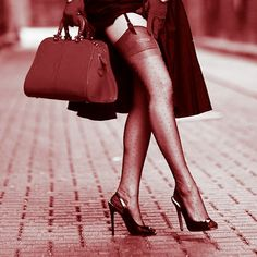 Street upskirt to show stockings with heels. Vintage style picture.