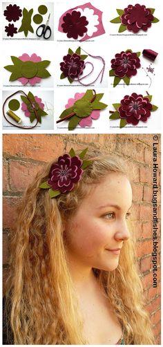 Siga o passo a passo e Faça Você Mesmo uma linda faixa de cabelo com flor de…