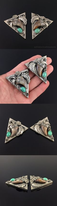 Other Native American Jewelry 11315: Native American Navajo Handmade Nickel Silver Turquoise Badger Claw Collar Tips -> BUY IT NOW ONLY: $95 on eBay!