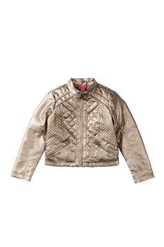 Metallic Quilted Scuba Jacket (Little Girls) by Bernardo on @nordstrom_rack