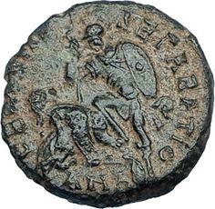 CONSTANTIUS II 350AD Antioch Authentic Ancient Roman Coin w BATTLE SCENE i65943