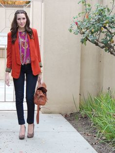"""Is there any item better than a blazer? I think not! No matter what you are wearing, you can add a blazer and you look instantly pulled together."" Red Blazer, Magenta Top, Leopard Shoes, Skinny Jeans"