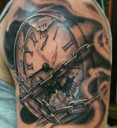 Time held back by chins  Clock Tattoo.  The broken glass looks real.