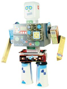 Turn cardboard boxes and other household packaging into a robot! Introduce children to the idea of using found materials as the building blocks for their creativity, see them transform any box or pap. Crafts For Boys, Gifts For Kids, Fun Gifts, Creative Thinking Skills, Futuristic Robot, Robot Kits, Cool Robots, Craft Kits, New Toys