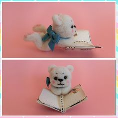 We love reading ♡ needle felted teddy bear by MJ Crafts