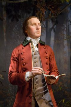 George Washington as a 19-year-old surveyor, forensically recreated and showcased standing amid a full-scale diorama that includes trees, animals, and forest sounds.