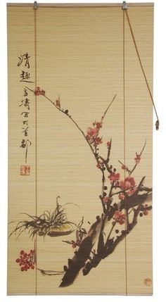 "Sakura Blossom Bamboo Blind, 72"" Wide asiatique-store-enrouleur"