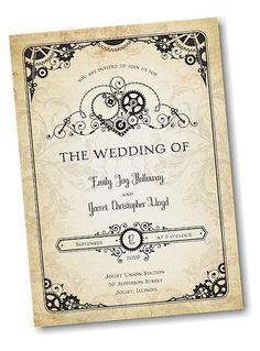 Heart of Steampunk Wedding Invitation