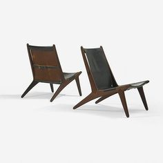Uno and Östen Kristiansson Hunting chairs model 204, pair   Luxus Vittsjö   Sweden, 1954   teak, leather, chrome-plated steel   20.5 w x 29 d x 30.5 h inches   Signed with decal manufacturer's label to underside of each example: [Made in Sweden by Luxus Vittsjö Des Uno Östen Kristiansson].