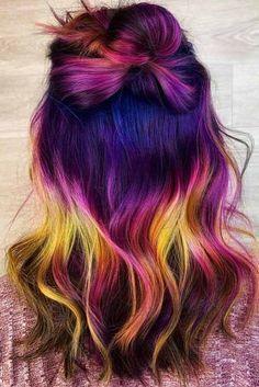 Hair Color 2018 - Dark Violet Unicorn ❤️ Unicorn hair is a new trend . Hair Color Blue, Cool Hair Color, Brown Hair Colors, Purple Hair, Unicorn Hair Color, Fairy Hair, Rainbow Hair, Neue Trends, Dyed Hair