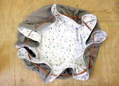 Tapis de jeu nomade pour bébé qui se transforme en sac à jouets ! Très pratique pour les voyages.  Difficulté : Moyenne Temps de réalisation : 1h30 Coût : 30 à 50€