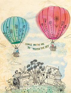 dreaming drawings, artworks, quotes, dream, illustrations, art prints, doodl, sky art, hot air balloons
