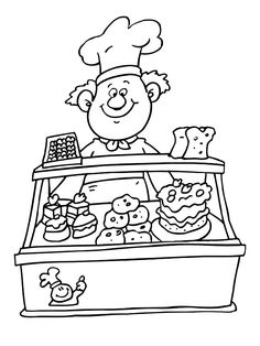 Selling Various Cake At Bakery Coloring Pages Coloring For Kids, Printable Coloring, Coloring Pages For Kids, Coloring Sheets, Adult Coloring, Coloring Books, Preschool Lessons, Shop Plans, Digital Stamps