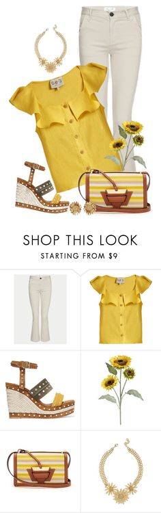 """""""Sunflower Day"""" by ahapplet ❤ liked on Polyvore featuring Frame, Sea, New York, Lanvin, Pier 1 Imports, Loewe, Asprey, yellow and ahapplet"""