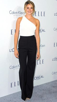 Shailene Woodley in a black-and-white Calvin Klein jumpsuit