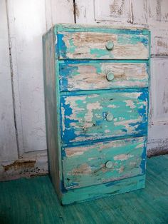 Beach+Cottage+Furniture   Shabby Beach cottage distressed table with drawers aqua blue side ...
