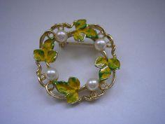 Vintage SARAH gold tone enamelled filigree round by badgestuff, $6.00