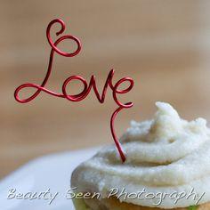 Valentine Decorations Love Cupcake Topper by HomesAndWeddings, $12.00