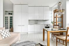 Open concept kitchen and livingroom, Scandinavian white decor, white kitchen Open Concept Kitchen, White Decor, Divider, Living Room, Interior Design, Scandinavian, Flat, Furniture, Nest Design