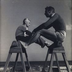 PaJaMa (Paul Cadmus, Jared French and Margaret French) – George Platt Lynes and Jared French, Fire Island. Silver print, circa 1940.
