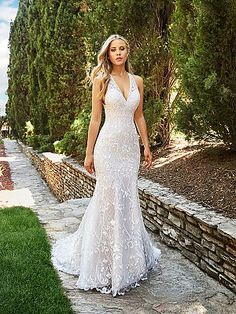 Embroidered Lace V Neck Mermaid Wedding Dress Moonlight Collection J6544 Vneck LaceWeddingDress