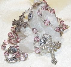 Pink Topaz Sterling Silver Wire Wrap Rosary    Unbreakable    Victorian Crucifix, Padre Pio / Our Lady of Carmel Center, and Sacred Heart medal