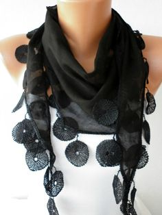 embellished scarf... replace lace with knitted scarf and felted wool circles