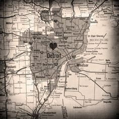 I heart Detroit map - StudioThirtyFour etsy shop