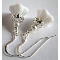 SALE, White Bell Flower Earrings, White Pearl Earrings, Clear... ($25) ❤ liked on Polyvore featuring jewelry, earrings, sterling silver jewellery, pearl bridal earrings, sterling silver flower earrings, pearl earrings and pearl bridal jewellery