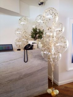 clear balloons with gold confetti - Google Search More