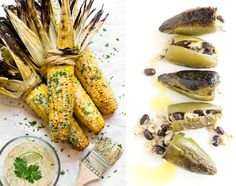 ... on the Cob with Piquant Sauce (left) and Shiny Happy Poppers (right