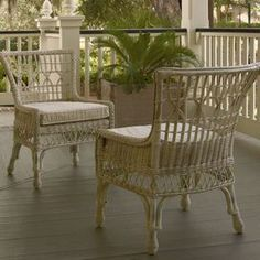 "Woven wicker side chair.Product: Side chairConstruction Material: Poplar veneers, hardwood solid and wickerColor: Distressed whiteFeatures:Casual and comfortableBrings charming country style to the tableComfortable cushionDimensions: 37"" H x 26"" W x 27"" D"
