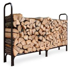 Steel Firewood Racks - Firewood Storage - Love that it's up off the ground so you can keep it clean all around it.