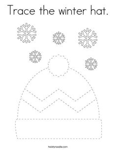 Trace the winter hat Coloring Page - Twisty Noodle